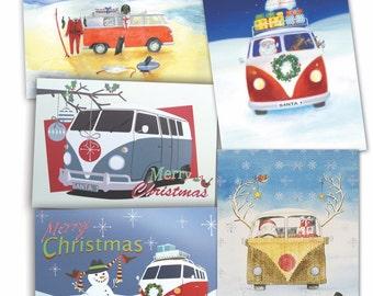 VW split windscreen inspired camper van  Christmas cards (pack of 10)