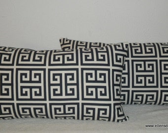 Decorative-Accent-Throw-Set of Two Pillow Covers -12 x 22 inch Geometric Maze Navy and Cream-Free Domestic Shipping