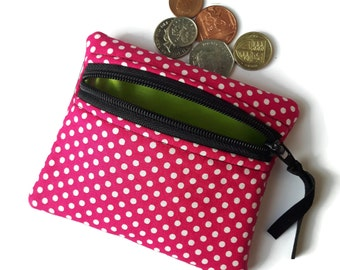 Pink and white spotty coin change purse, zipped card pouch