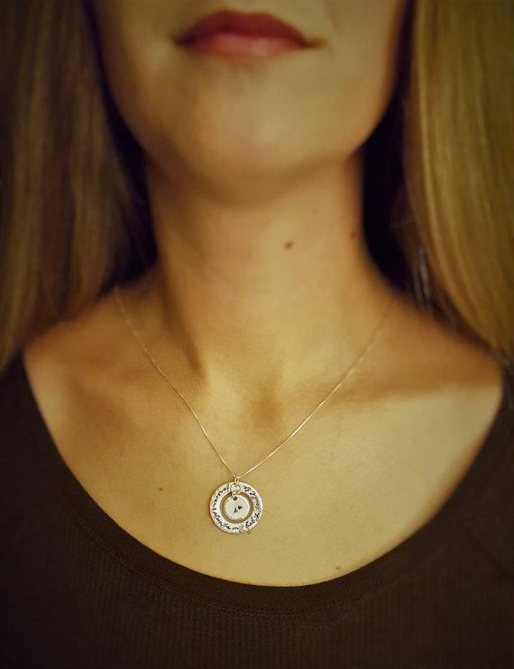 Forever & Always My Baby You'll Be - Mommy Jewelry - Mommy Quote - Sterling Silver Washer - Initial Jewelry - Child's Initial - Engraved
