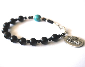 St Expedit Mens Rosary Bracelet, Black Onyx, Tigers Eye + Turquoise Magnesite Catholic Bracelet, Confirmation Gift, Boys confirmation Gift.