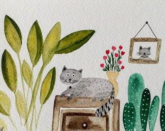 Houseplants and cats postcard original illustration  Painting