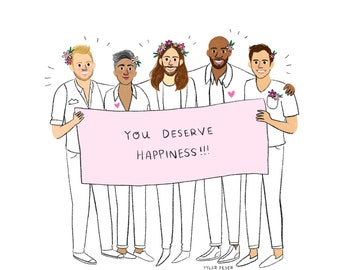 Queer Eye Fab Five Print - Hand-Illustrated