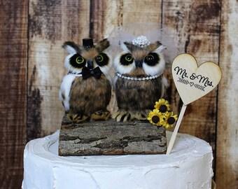 Owl Wedding Cake Topper, Animal Cake Topper-Owl-Wildlife-Forest-Rustic-Woodland-Destination-Unique