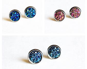 HYPOALLERGENIC EARRINGS Faux Druzy Earrings 8mm SMALL Stud Earrings Surgical Stainless Steel, clothing gift