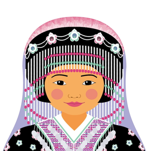 Hmong Doll Art Print with traditional folk dress, matryoshka