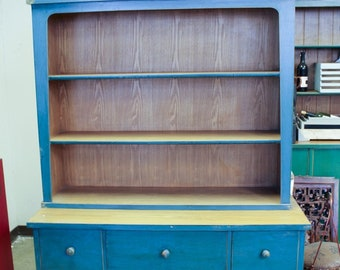 Vintage Chinese 2-Door 5-Drawer Cabinet with Bookcase