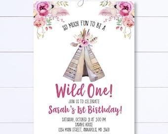 Wild One Birthday Invitation, Teepee Birthday Invitation, Boho Teepee Invitation, Fist Birthday Invite, Boho Invite, Tribal Birthday Invite