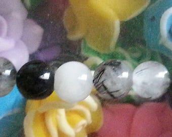 rutilated quartz 5 bead 8 mm in diameter, hole 1 mm