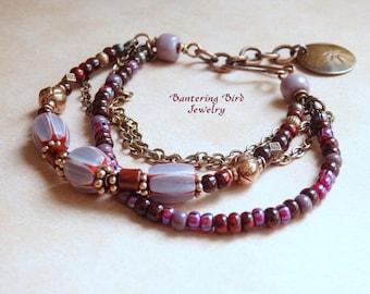 Boho Beaded Bracelet, Multi Strand, Purple Glass Chevron Beads and Vintage Murano Glass, Copper Ethnic Jewelry