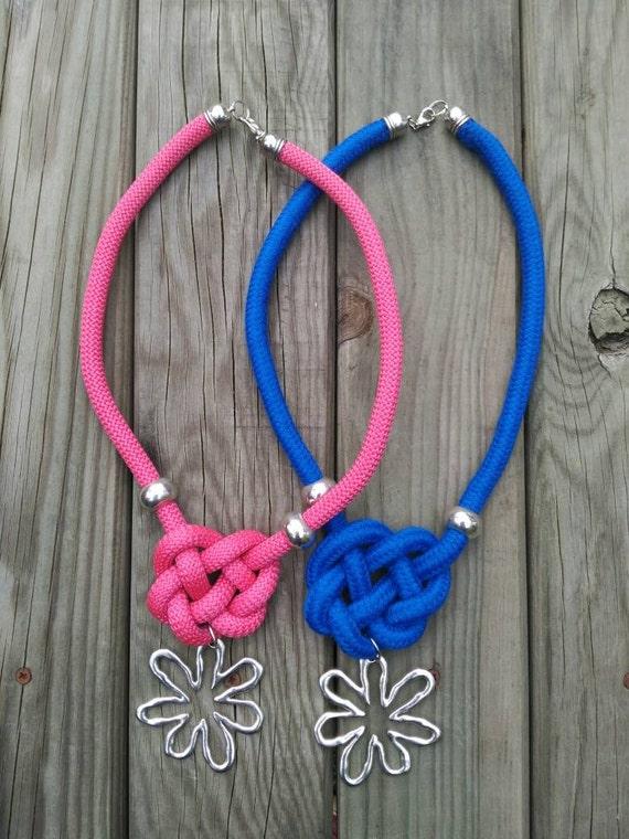 LONG NECKLACE CELTIC knot metal flower