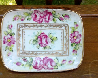 Vintage Roses and Gold Dish-Vanity Tray, Soap DIsh