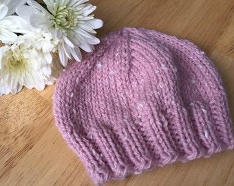 Newborn girl pink tweed baby hat, photo prop