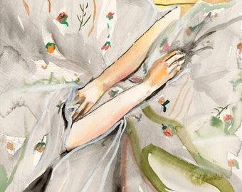 Spring - Giclee Art Print, Floral Art, Figurative Art, Wall Art, Home Decor