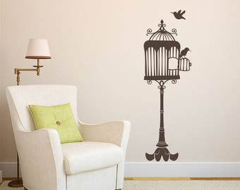 Opened Birdcage on Stand with Two Birds Vinyl Wall Decal for living room, nursery, kitchen, bedroom + more K676