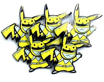 Yellow Pokeranger Pikachu v2 hard enamel hatpin Bulk 5-pack