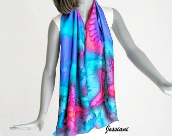 Hand Painted Silk, Multicolor Scarf, Petite Wrap, Unique Scarf, Gem Colors, Royal Scuba Blue, Red Teal Wrap, Artisan Handmade, Jossiani
