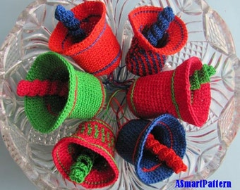 Crochet Pattern-COLORFUL CHRISTMAS BELLS-pdf file #14