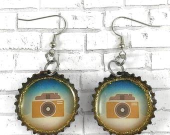 Camera Earrings, Vintage Camera, Selfie Bottle Cap Earrings Beer Caps Recycled Jewelry