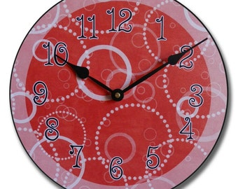 Red Circles Wall Clock