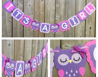 Owl banner, IT'S A GIRL banner, purple lavender owl banner, magenta lavender purple owl banner, baby shower decoration, owl baby shower