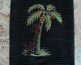 Monkeys in Palm Tree - Whim - Wave (Black) - Cotton 20x30 Designer Kitchen Hand Towel