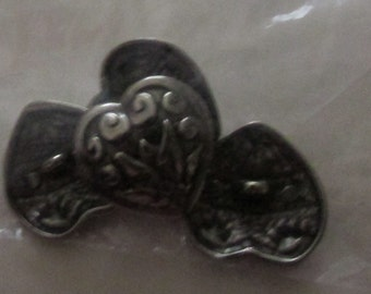 heart buttons set of 4 silver