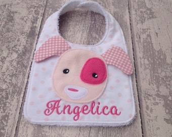 Pink dog bib personalized with name