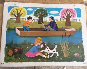 Vintage FERNAND NATHAN School Poster, Childrens Wall Art, Village Scenes, Colorful Childs Poster, Nursery Decor, Bedroom Decor