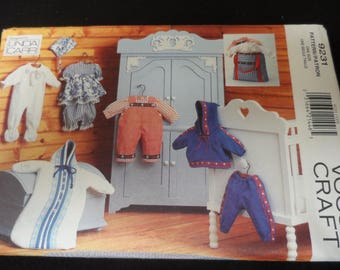 """Vogue Craft 9231 Baby Doll Clothes Pattern Size 15-18"""" Five Outfits"""