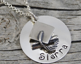 Hand Stamped Jewelry - Personalized Jewelry - Graduation Necklace - Sterling Silver Name Necklace - Graduation Cap Charm