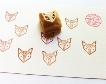 baby fox rubber stamp | woodland animal stamp for animal lovers | diy birthday baby shower card making | hand carved by talktothesun