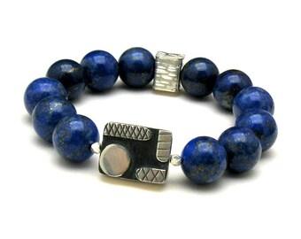 Lapis  Lazuli  Minimalist  Geometric  Beaded  Boutique Bracelet   Wearable Art for Her Under 400  Free Gift Wrap