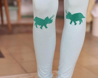sale, Green leggings, womens leggings, green tights, dinosaur print, mint green, light green, womens tights, high waist