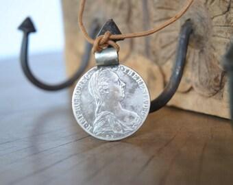 Vintage 1780  MARIA THERESA silver coin  , rare silver pendant ....
