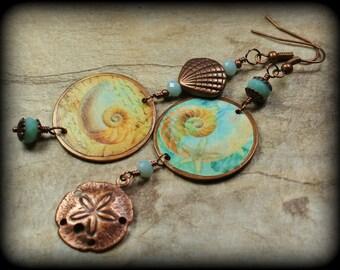 She Sells Sea Shells... Handmade Jewelry Earrings Beaded Crystal Beach Seashell Sand Dollar Antique Copper Aqua Turquoise Peach Asymmetrical