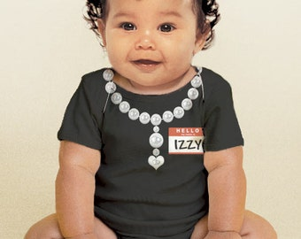 The New Girl Bodysuit, Personalized Baby Girl Necklace One-Piece