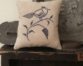 primitive cross stitch sampler Simple Perched Bird Blue GLAZED STONEWARE inspired pin pillow D3-2