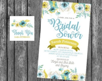 baby shower bridal shower invitation  heavy cardstock or digital party banner tags model2