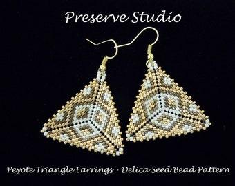Peyote Triangle Delica Seed Bead Pattern, Beaded Triangle Pattern, Beading Tutorial, Peyote Stitch, DIY Earrings