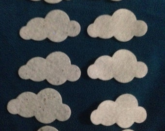 Half Price Sale 10 white felt clouds