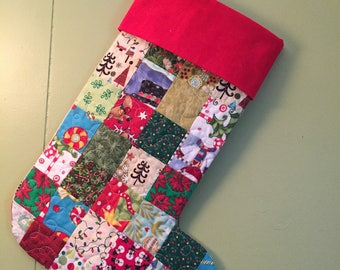 Stocking, quilted, Christmas, decoration, patchwork, lined