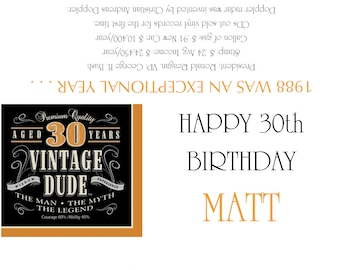 1988/30th Birthday Party Favors/Candy Wrappers