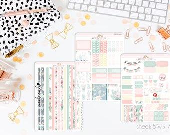 Desert Rose HORIZONTAL Weekly Kit // 130+ Matte Planner Stickers // Perfect for your Erin Condren Life Planner // WKH0590