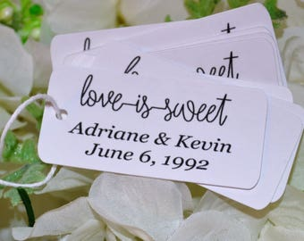 Heartbeat Love is Sweet Tags, Mini Wedding tags, Custom Printed Wedding favor tags/Reception Tags,Bridal Shower tag/Small Personalized Tags