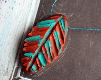 Indian Feather Pendant - Handmade Polymer Clay Pendant - Chunky Clay Pendant - Polymer Clay - Bead Soup Beads