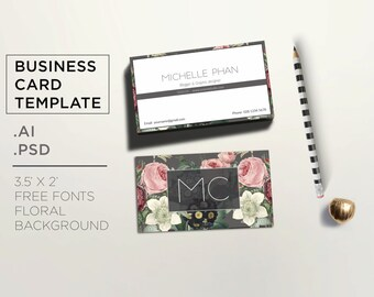 Floral business card template / Elegant calling card / modern business card / modern calling card