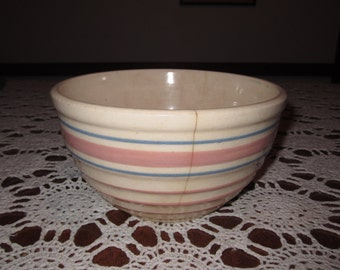 Pink and Blue banded Mixing Bowl