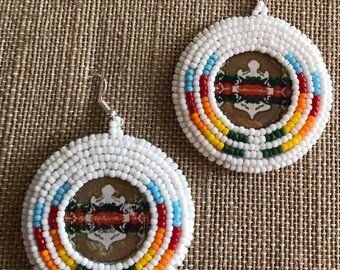 White Bead Embroidered Earrings Native American   Free Shipping Available