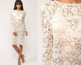 White Lace Dress 80s Mini SHEER Lace Puff Sleeve Grunge Party 1980s Boho Vintage Long Sleeve Minidress See Through Extra Small xs